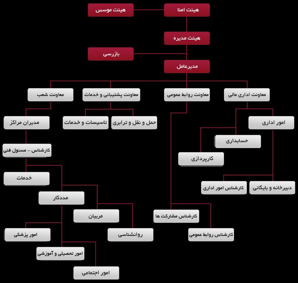 چارت سازمانی موسسه خیریه بهشت امام رضا (ع)